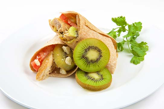 Chicken Wrap with Seared Kiwi and Feta